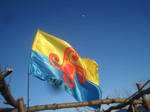 Прапор громади на передовій - під Горлівкою.