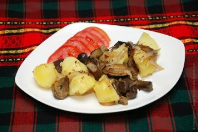 Печена картопля з грибами